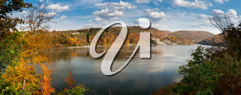 Panorama of the autumn fall colors surrounding Cheat Lake near Morgantown, West Virginia