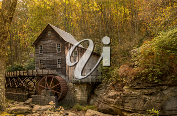 Waterwheel and old grist mill in Babcock state park in West Virginia