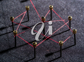 Concept of a social network with leader of a management structure with linkages and interaction