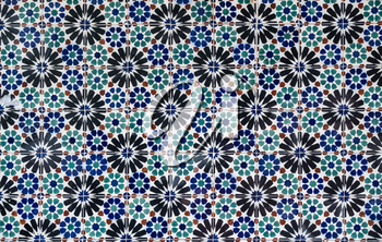 Close up of the detail in colorful wall tiling in Lisbon, Portugal