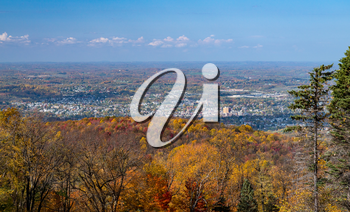 Panorama of the cityscape of Uniontown from Dunbar's Knob in nearby Jumonville