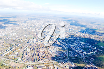 Vologda City bird's-eye view. Aerophotographing Vologda. Houses and buildings of the city.