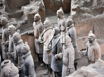 XIAN, CHINA - October 29, 2017: Terracotta Army. Clay soldiers of the Chinese emperor. Sculptures of the soldiers of the emperor.