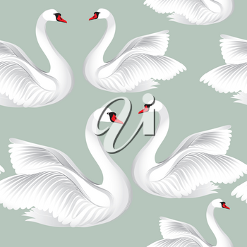White birds seamless pattern. Wildlife background. Swimming swans tile ornament