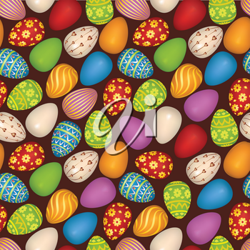 Easter eggs sign seamless pattern. Easter greeting card background