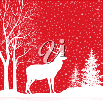 Christmas background. Snow winter landscape with deer. Merry Christmas greeting card.