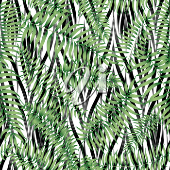 Floral abstract geomtric tiled pattern. Tropical palm leaves seamless background