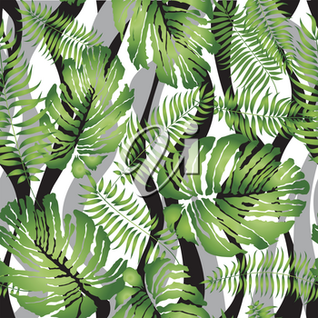 Floral wave seamless pattern. Flower background. Floral tile ornamental texture with leaves. Spring flourish garden texture