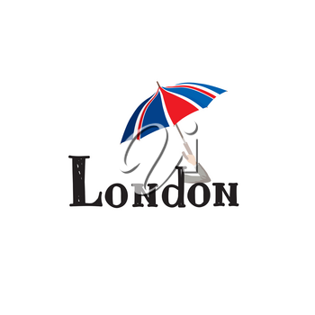 London sign hand lettering. British jack flag colored umbrella