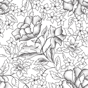 Floral seamless pattern. Garden Flower bouquet background. Spring nature decor