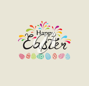 Happy Easter greeting card design. Holiday bakground with Easter eggs