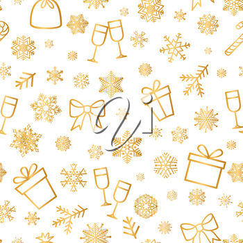 Christmas icons seamless pattern, Happy Winter Holiday tile background with New Year Tree, Snow and Stars. Doodle outline ornamental design elements.