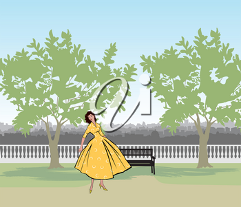 Retro fashion dressed woman (1950's 1960's style) in city park landscape. Stylish young lady in vintage clothes in summer city garden. Summer fashion silhouette from 60s. Park cityscape skyline. Urban life illustration.