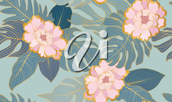 Floral seamless pattern with tropical leaves and flowers. Artistic drawn floral background in style of oriental chinese embroidery decor. Flourish ornamental garden texture with line art palm leaves