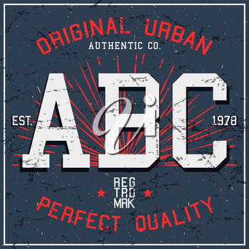 ABC vintage poster. T-shirt print design.Vector illustration.