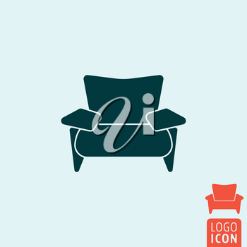 Armchair icon. Armchair logo. Armchair symbol. Lounge zone icon isolated, recreation symbol minimal design. Vector illustration