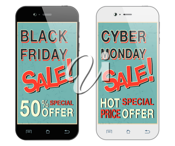 Black friday sale. Cyber monday sale. Black and white smartphones.  Mobile phone isolated. Vector illustration