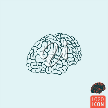 Brain icon. Brain symbol. Human brain icon isolated. Vector illustration