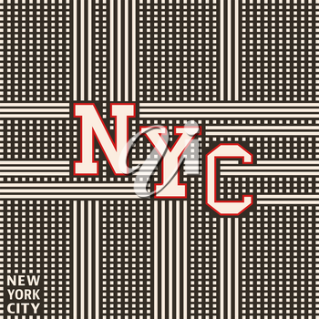 New York city vintage poster, t-shirt print. Cubes and stripes abstract background. Vector illustration.