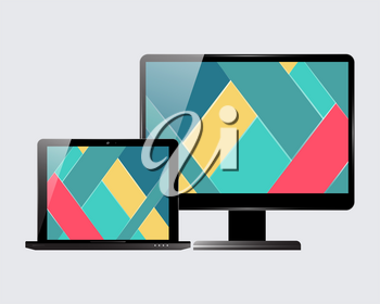 Laptop and computer display. Material design screensaver. Vector illustration.