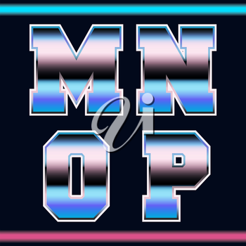 Letter font template 80s retro style. Set of letters M, N, O, P logo or icon old video game design. Vector illustration.