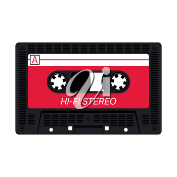 Compact audio cassette tape isolated on white background. Vector illustration.