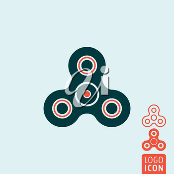 Fidget spinner icon. Finger spinner - stress relieving hand toy. Vector illustration.