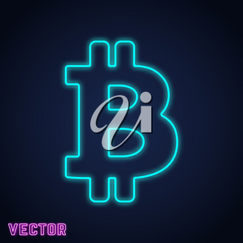 Bitcoin icon template. Crypto currency symbol neon line design. Vector illustration.