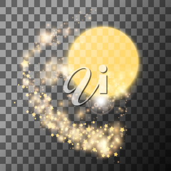 Gold sun with stars on transparent background. Vector illustration.