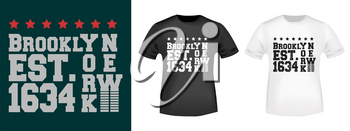T-shirt print design. Brooklyn New York 1634 vintage stamp and t shirt mockup. Badge applique, label t-shirts, jeans, casual wear. Vector illustration.