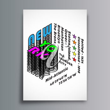 New York art typography for flyers, posters, brochure cover, and other printing products. Vector illustration.