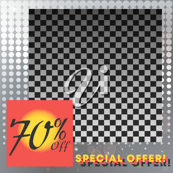 Sale banner template with empty space for product image. Vector illustration.