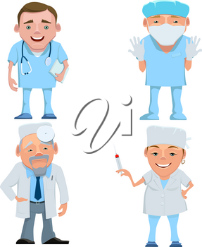 Vector illustration of a doctor in uniform. Cartoon happy smiling doctor isolated. Seth doctors and nurses with stethoscope , mask and syringe. Doctor therapist. Doctor surgeon. Doctor otolaryngologis