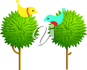 Vector illustration of two trees and twittering birds. The concept of a bird on the tree.