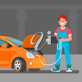 The young male mechanic does computer diagnostics laptop of the car in the service center, the garage. Vector illustration in flat style. Concept design work of the repair shop