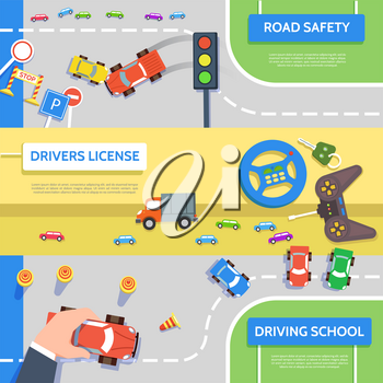 Traffic laws template with play car, road symbols. Vector illustration of hand control car top view concept in flat style.