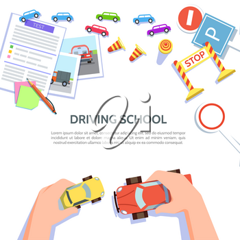 Driving school template with play car, road symbols. Vector illustration drivers education in flat style. Traffic laws concept on white background.