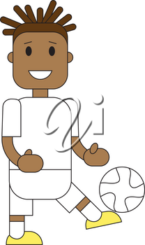 Soccer Football team players. Vector flat illustration of a football player posing with the ball.