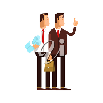 Couple businessman character standing on white background. Vector flat illustration business team concept