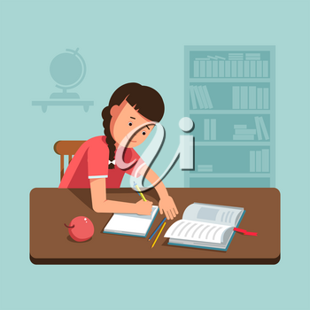 Vector illustration school girl kid sitting at the desk and doing his homework. Flat concept back school