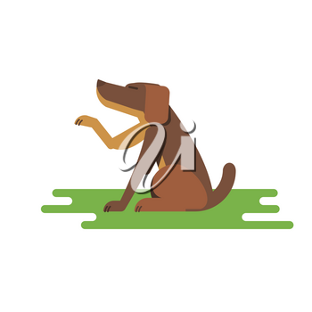Vector flat illustration friendly dog sitting and stretches a paw outdoor
