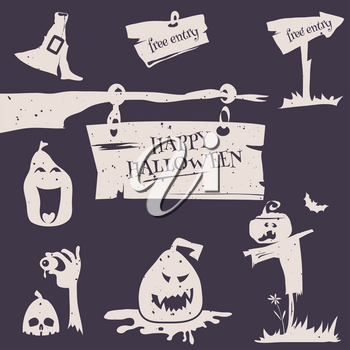 Vector illustration set for happy Halloween flyer, card, poster. Halloween logos emblems and labels on white background in retro stile