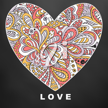 Heart ethnic doodle. Love. Valentine's Day. Black Drawing for cards and clothing
