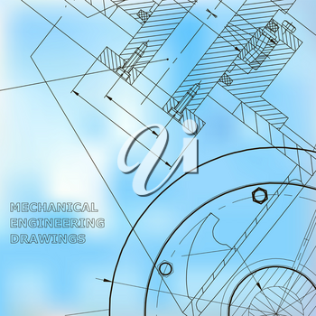 Backgrounds of engineering subjects. Technical illustration. Mechanical engineering. Technical design. Instrument making. Blue