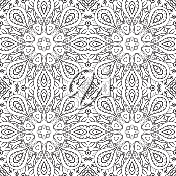 Seamless pattern doodle ornament. Coloring background. Ethnic