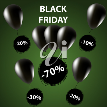 Doodle sale tag. Black friday Sale banner. Balloons in black. Green background