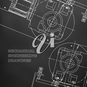 Mechanical engineering the drawing. Technical illustrations. The drawing for technical design. Cover, banner. Black