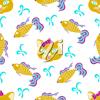 Kids, Cartoon seamless pattern. Original color drawings. Skarpbuking. Textiles, cartoon background. Cat, kitty, fish, goldfish, bows