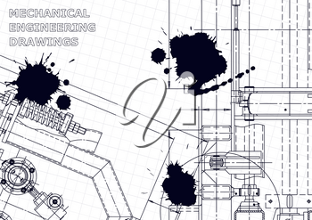 Machine-building industry. Mechanical engineering drawing. Black Ink. Blots. Computer aided design systems. Technical