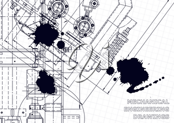Technical abstract backgrounds. Mechanical instrument making. Technical illustration. Black Ink. Blots. Vector engineering drawing